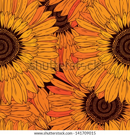 seamless pattern of abstract flowers sunflowers