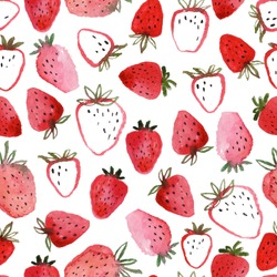 Seamless pattern of abstract watercolor hand drawn beautiful strawberries on white background - vector illustration