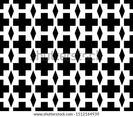 Seamless pattern of angled angles with a diamond in the middle. Geometric monochrome abstract backgrounds suitable for fabric and tile motifs.