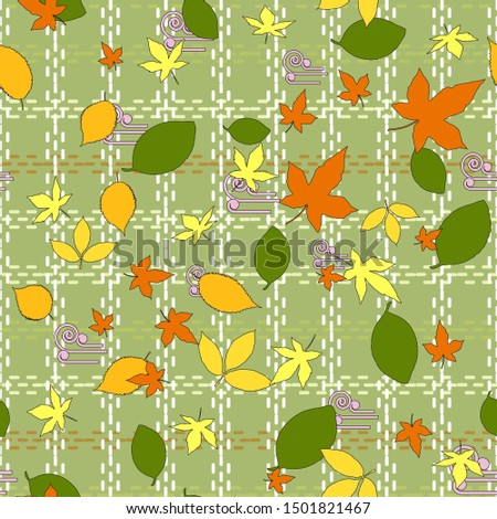 Seamless pattern of autumn green, orange and yellow leaves of maple, elm, beech and linden. Olive background with a cell from light dotted lines. Great for fabrics, gift wrapping, printed materials. Stock fotó ©
