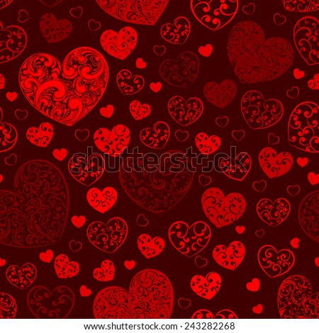 Seamless pattern of big and small hearts with curls, in dark red colors