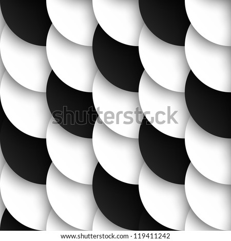 Seamless pattern of black and white circles with drop shadows. Vector illustration