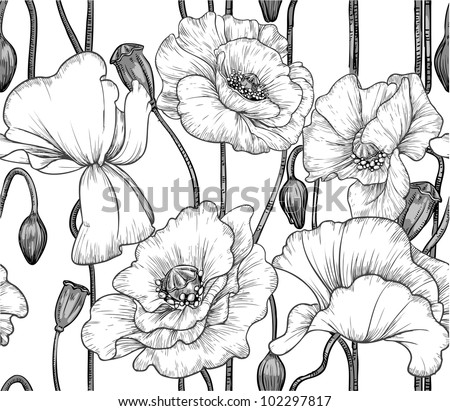 seamless pattern of black and white poppies
