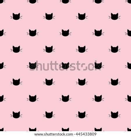 Seamless Pattern of Black Heads of Cats on Pink Background. Vector illustration. Animal silhouette. Wallpaper and fabric design and decor.