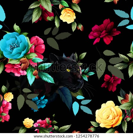 Seamless pattern of black panther with flowers and leaf around. Abstract artwork for textile, fabric and other using. Hand drawn illustration. vector - stock.
