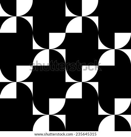 Seamless pattern of black squares and quarters of the circle.