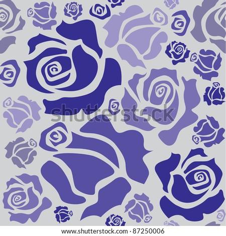 seamless pattern of blue roser - illustration