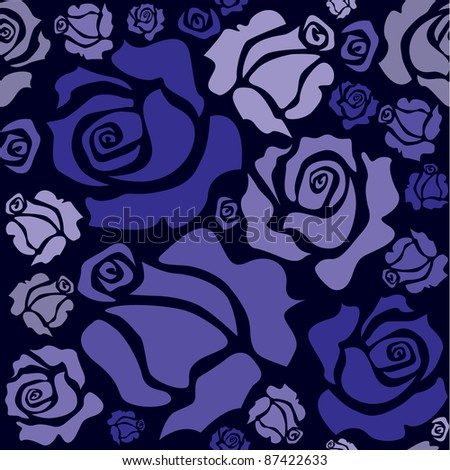 seamless pattern of blue roses