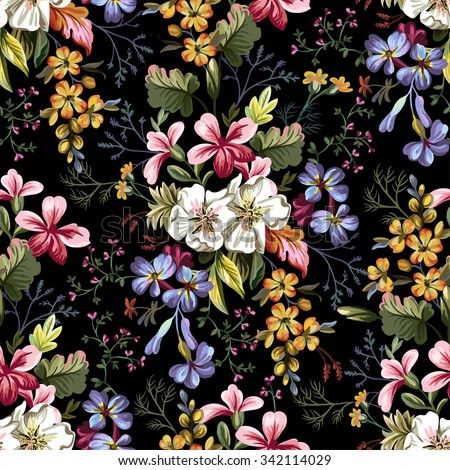 seamless pattern of bouquet of
