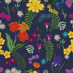 Seamless pattern of bright and colorful different flowers