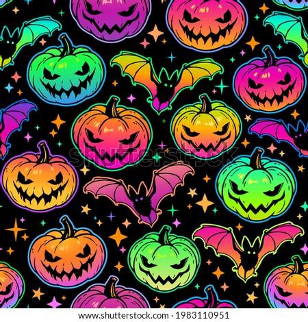 seamless pattern of bright multicolored haloween pumpkins