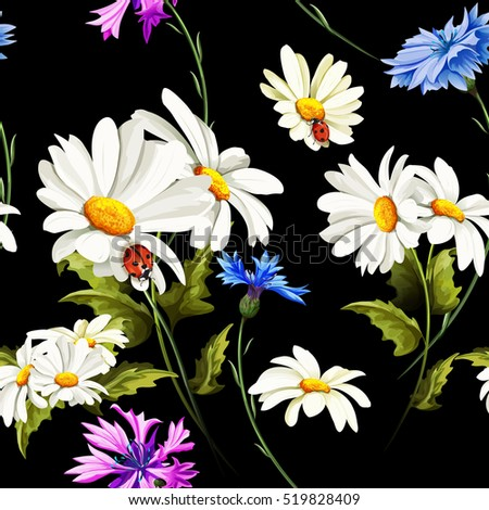 seamless pattern of camomile