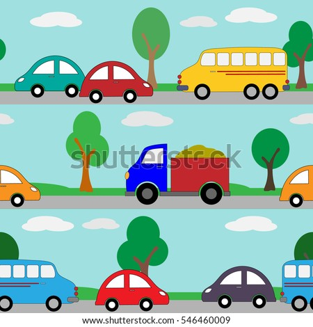 Seamless pattern of cars on the road #546460009