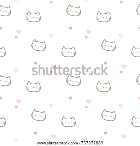 Stock Photo Seamless Pattern of Cartoon Cat Face and Pink Heart on White Background
