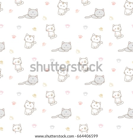Stock Photo Seamless Pattern of Cartoon Cats and Paws on White Background