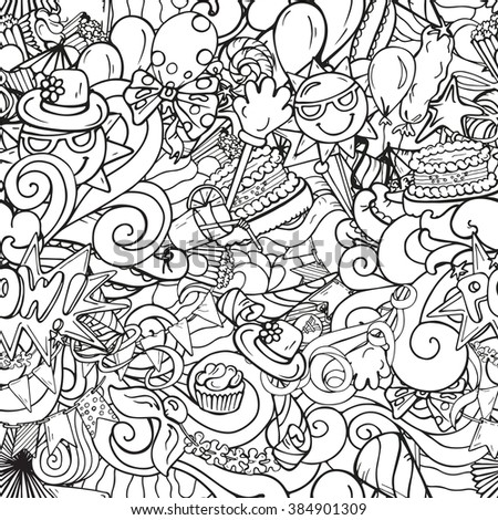 Monochrome doodle party objects in hand drawn style