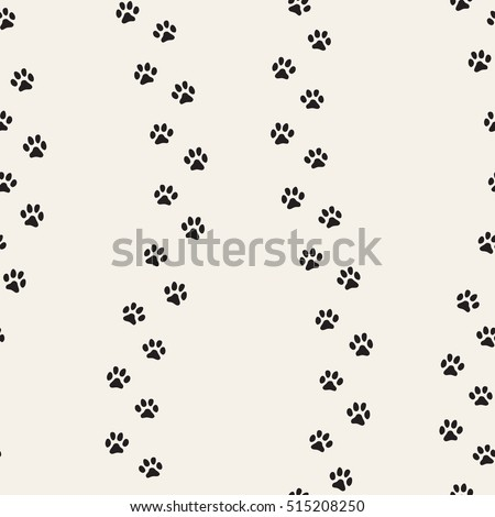 Seamless pattern of cat footprint. Stylish vector print.