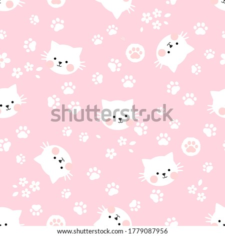 seamless pattern of cat kitten