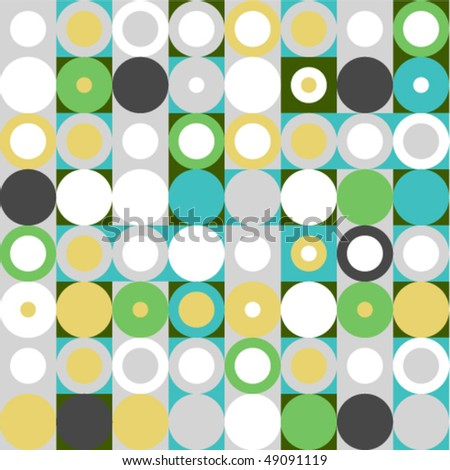 Seamless pattern of circles and squares in muted tones. To see similar interesting seamless patterns, please visit my gallery :)