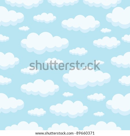 seamless pattern of clouds on blue sky - stock vector