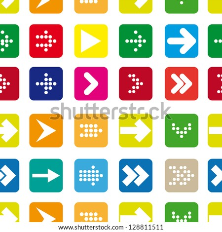 Seamless pattern of colored arrows - stock vector