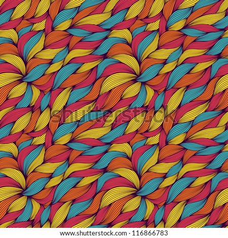 seamless pattern of colored curls
