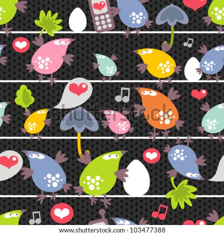Seamless pattern of colorful birds on wires in night. Vector texture.