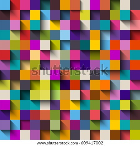 Seamless pattern of colorful blocks with shadow, eps10 vector