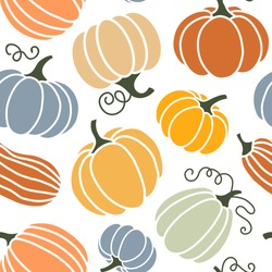 Seamless pattern of colorful pumpkins. Flat style. Vector illustration.