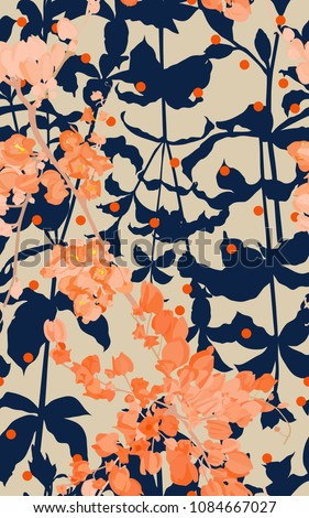 seamless pattern of coral vine