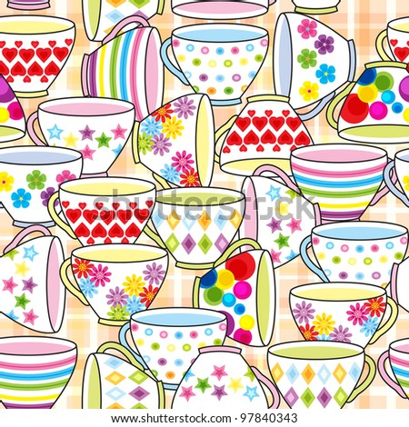 Seamless pattern of cup