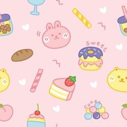 Seamless pattern of cute cartoon.Dessert concept.Rabbit,bear,candy,donut,bubble milk tea,bread,peach doodle.Kid graphic.Wallpaper.Background.Kawaii.Vector.Illustration.