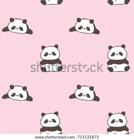 Seamless Pattern of Cute Cartoon Panda Design on Pink Background with Dots
