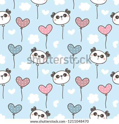 Seamless Pattern of Cute Cartoon Panda Face and Balloon Design on Pastel Blue Background with White Hearts and Clouds