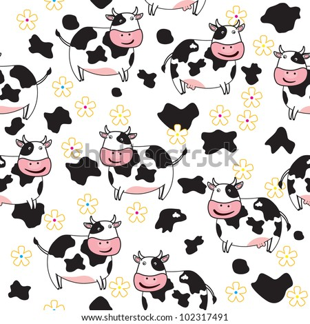 Cow Pattern Vector Seamless Pattern of Cute Cow