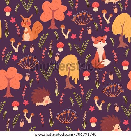 seamless pattern of cute flat