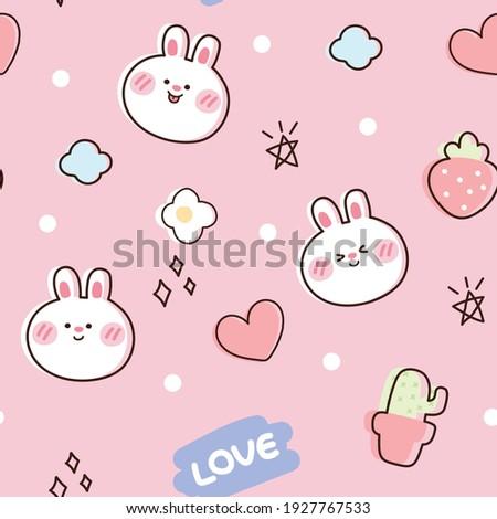 Seamless pattern of cute rabbit on pink background.Animals cartoon design.Cactus,flower,heart,strawberry hand drwan.Wallpaper.Vector.Illustration. Foto stock ©