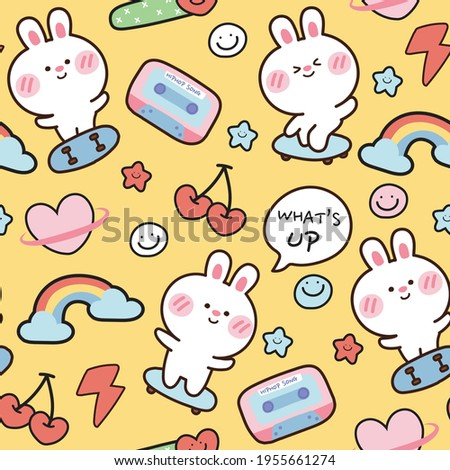 Seamless pattern of cute rabbit on skate board on yellow background.Animal character design.Kid graphic design.Art.Sticker.Cartoon hand drawn.Wallpaper.Banner.Image.Kawaii.Vector.Illustration.
