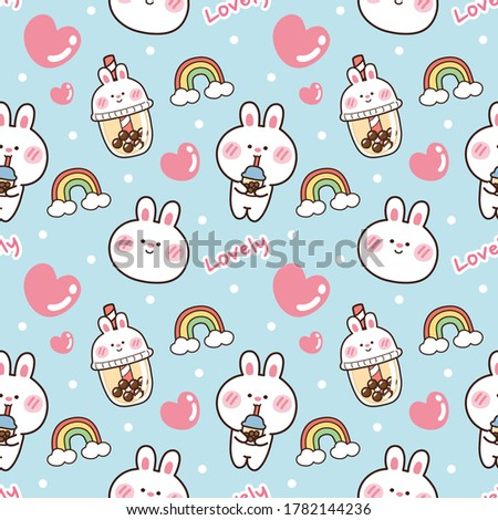 Seamless pattern of cute rabbit with bubble milk tea on blue background.Animal cartoon.Image for wallpaper,texture,paper.Kawaii.Sweet beverage.Baby bunny.Vector.Illustration.