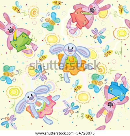 Seamless pattern of cute rabbits