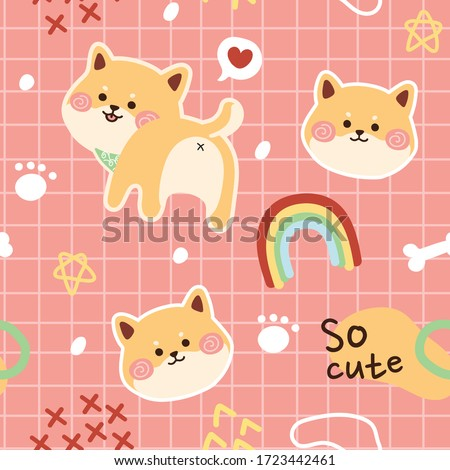Seamless pattern of cute shiba inu background hand drawn.Cartoon animal doodle.Kawaii style.Japanese dog.T-shirt Print Design for Kids.Image for card,poster,wallpaper,banner. Vector.Illustration.