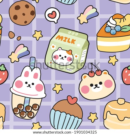 Seamless pattern of cute sticker cartoon hand drawn.Animal character design.Rabbit,cat,bear,strawberry,cake,dessert,cookies,bubble milk tea.Kid graphic.Kawaii.Vector.Illustration