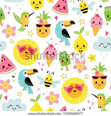 Seamless pattern of cute summer cartoon characters on white background