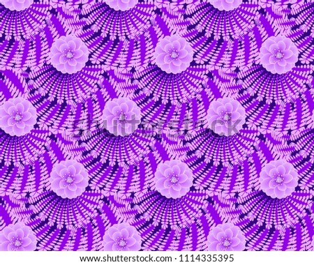 Seamless pattern of decorative drapes with flowers