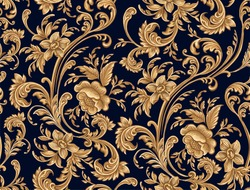 Seamless pattern of decorative gold floral element.