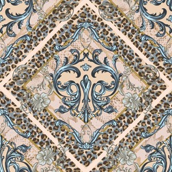 Seamless pattern of decorativefloral element in baroque style