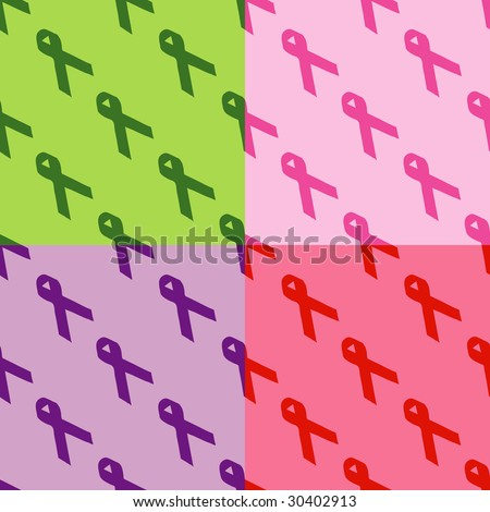 Seamless pattern of different awareness ribbons.