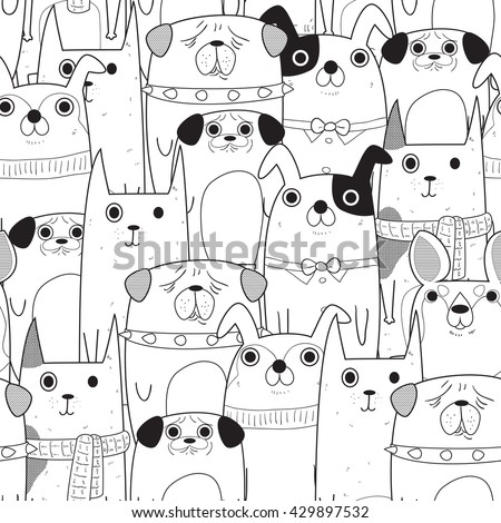 seamless pattern of dogs in