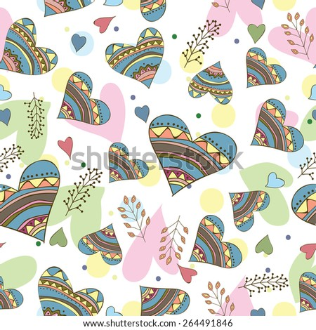 Seamless pattern of drawing doodle hearts - design for love card