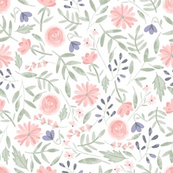 Seamless pattern of elegant and dainty florals.